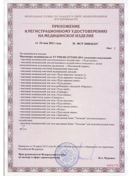 Приложение к регистрационному удостоверению Массажеры