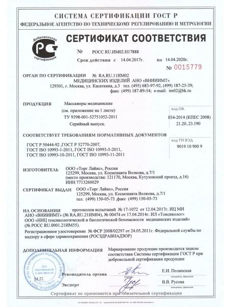 Сертификат соответствия на массажеры Торглайнс